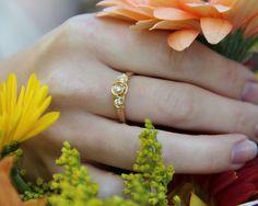 Beautiful, gold rose engagement or wedding ring. Custom made, diamond rose ring in yellow gold.
