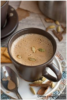 To make masala chai tea latte, you will need the following ingredients:  2 cups whole milk 1 cup water 1/2 tsp cinnamon powder 1/4 tsp cardamom powder 1 cinnamon stick- about 2 inches long 1 small piece of fresh ginger – about 1 inch long (optional) 7 cardamom pods 4 star anise pieces 2 cloves 4 tbsp granulated sugar 3 tbsp loose Assam or Darjeeling tea