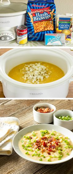 Skinny Crock Pot Loaded Potato Soup - Only 5 minutes to prepare and 218 calories per serving!