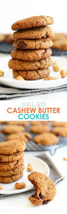 These Paleo Cashew Butter Cookies are grain-free and oil-free, made with coconut sugar for sweetness. They taste exactly like a Tollhouse Chocolate Chip Cookie!