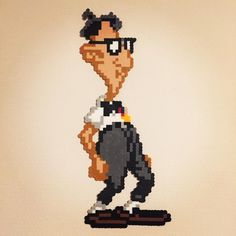 """Bernard from the Classic PC game """"Day of the Tentacle"""" made with perler beads"""