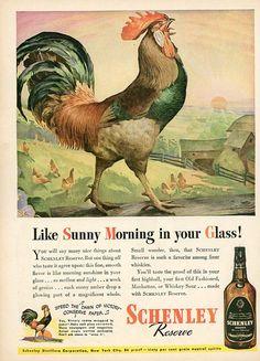 1944 Schenley Reserve Print Ad  Interior Design  Paper