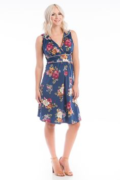 Dress w/ Piping - Navy Floral