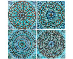 Patio 4 Moroccan wall hangings // Ceramic tiles // Wall decor // Wall art // Moroccan // 30cm // Turquoise by GVEGA on Etsy https://www.etsy.com/listing/221593834/4-moroccan-wall-hangings-ceramic-tiles