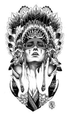 Amazing tattoo design - Indian shaman girl.