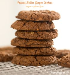 Peanut Butter Ginger Cookies, vegan and gluten-free