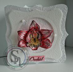 Designed by Gaynor Greaves Graceful Orchid Sheena Douglass stamp & die Spectrum Noir Sparkle pens Macaroon & Biscuit. #spectrumnoir #sheenadouglass #crafterscompanion #handmade #sparkle #floral