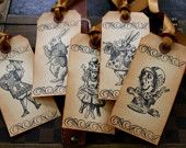 Alice in Wonderland Vintage Inspired Tags - Set of 5 - You choose ribbon color