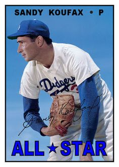 1967 Topps Sandy Koufax All-Star, Los Angeles Dodgers, Baseball Cards That Never… Best Baseball Player, Dodgers Baseball, Sports Baseball, Baseball Equipment, Baseball Memes, Baseball Wall, Baseball Crafts, Baseball Girls, Baseball Girl Costume