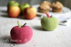 "Free pattern for big apple amigurumi, use different weight of yarns and hooks to crochet various sizes of apple. This is 3"" in diameter using fingering yarn"