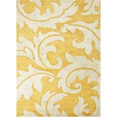 Check out the Jaipur RUG1 Blue Hand-Tufted Abstract Pattern Wool Art Silk Yellow/Ivory Area Rug