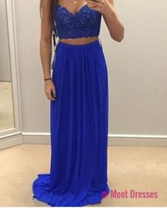 A Line Prom Gown,Two Piece Prom Dresses,Royal Blue Evening Gowns,2 Pieces Party Dresses,Chiffon Evening Gowns,Lace Formal Dress For Teens PD20185156