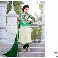 Green & off white semi stitched salwaar kameez - Online Shopping for Salwar Suit by ZAHARA