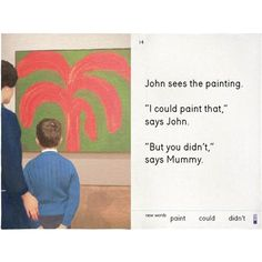 John Sees the Painting Tea Towel X We Go to the Gallery Three Words, New Words, Ladybird Books, Tapestry Design, Learning Process, Best Selling Books, Everyday Objects, Teaching Art, Bold Colors