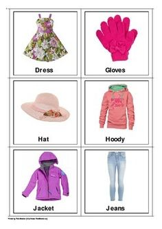 Girls Clothing Flash Cards
