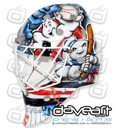 Ghostbuster Baseball on Talbot Stadium Series Mask Goalie Gear, Hockey Helmet, Goalie Mask, Hockey Goalie, Ice Hockey, Football Helmets, Hockey Room, Mask Painting, Masked Man