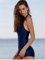 Chic Solid Color Halter Pleated One-Piece Swimwear For Women - PURPLISH BLUE XL