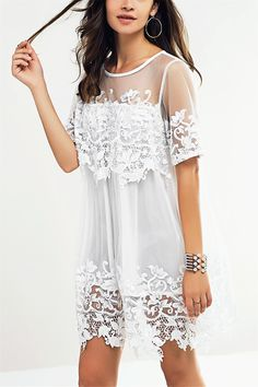 $15.71 Sweet See-Through Lace Applique Dress For Women