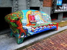 Mosaic bench in Amsterdam, Holland, NL.