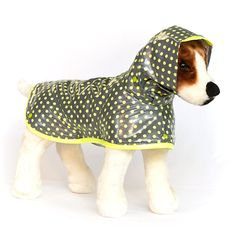 "Custom Neon Dog Raincoat - ""Citrus Pop"" - Dog Rain Coat with Hood - Neon Yellow Designer Dog Coats on Etsy, $47.00"