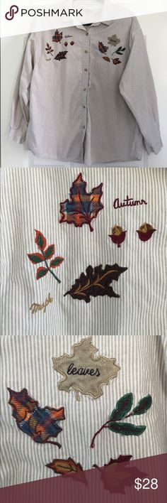 Autumn Fall Leaves Tan + White Striped Shirt This is an autumn/ fall leaves button down shirt. I love wearing this oversized with some leggings. It is used and has some wear. Super cute for Fall! Let me know if you have any questions! Tops Button Down Shirts