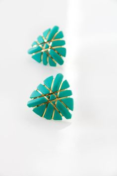 Retro teal and gold plastic post earringsTeal Geometric by Bixipix, $8.00