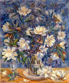 bofransson:  GONCHAROVA, NATALIA (1881–1962) - Still Life with Magnolias and a Glass