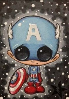 Captain America by Michael Banks (Sugar Fueled) Chibi Marvel, Hq Marvel, Marvel Dc Comics, Arte Disney, Disney Art, Michael Banks, Manga, Creepy Art, Illustrations