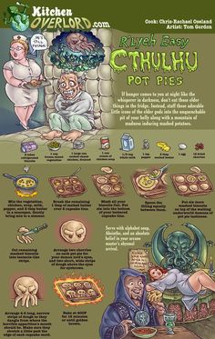 Kitchen Overlord Cthulu Pot Pies [this would be awesome for a Halloween party] Lovecraft Cthulhu, Hp Lovecraft, Call Of Cthulhu, Bento, Pie Kitchen, Kitchen Time, Kitchen Witch, Lovecraftian Horror, Food Themes
