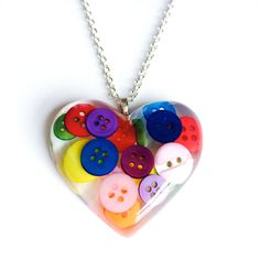 Heart Pendant Resin Necklace with Buttons by RubyBijou on Etsy