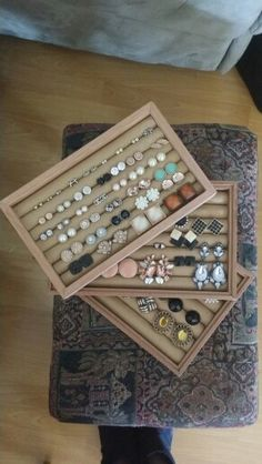 DIY Jewellery Box. #earing holder #woodwork #craft #pretty #stackable