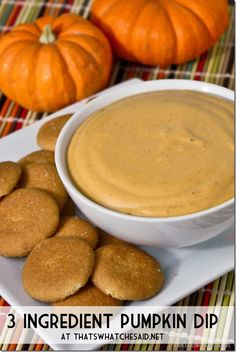 3 Ingredient Pumpkin Dip Recipe - Cream cheese, brown sugar, pumpkin pie filling