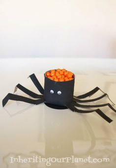 Toilet Paper Roll Spider for Halloween filled with treats