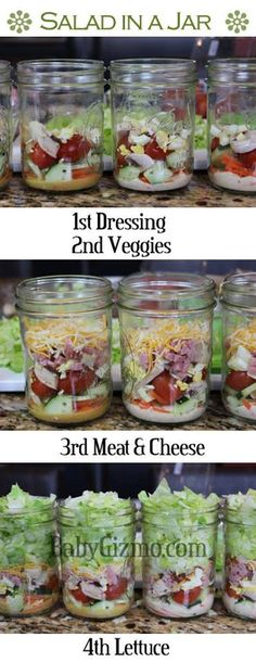Salad in a jar - healthy and easy lunches! Find some new ideas for a healthy lunch to pack Tip Pack your lunch Sarah Thomas Top 10 Tips Teacher Wellbeing Self care Healthy eating Mason Jar Meals, Meals In A Jar, Mason Jars, Healthy Snacks, Healthy Eating, Healthy Recipes, Tasty Meals, Quick Meals, Freezer Meals