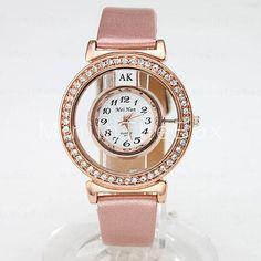 58d5a712571 [$4.99] Women's Fashion Crystal Case PU Band Quartz Wrist Watch (Assorted  Colors) Cool Watches Unique Watches