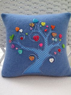 Recycled Cashmere Tree of Love Pillow with Heart Buttons