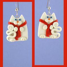 White Snowman Cat Earrings by artsandcats, via Flickr