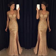 2017 Sexy Long Crystal Beaded Prom Dress With Slit Mermaid Prom Dresses Evening Gown
