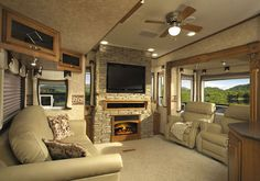 BUCKET LIST: Travel to visit each of my children while I live in this gorgeous RV. With my husband driving, of course! Travel Trailer Interior, Rv Interior, Interior Design, Luxury Rv Living, Tiny Living, Bus Living, Living Room, Rv Trailers, Travel Trailers