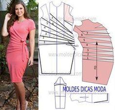 Faça a analise de forma detalhada do desenho do molde do vestido drapeado. Vestido…