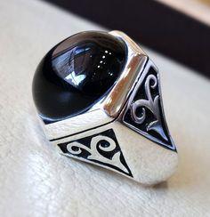 aqeeq natural agate onyx stone hexagon round by AbuMariamJewels
