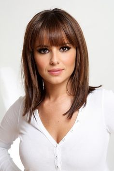 Image for Medium length straight hairstyles with bangs Shoulder Length Layered Hair, Layered Hair With Bangs, Bangs With Medium Hair, Thick Hair, Shoulder Length Hair With Bangs, Lob With Bangs, Thick Bangs, Medium Hair Styles For Women, Short Hair Styles
