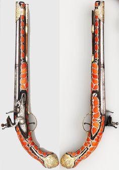 Ottoman (Balkan?) flintlock pistol, 18th century, steel, iron, silver, coral, L. 19 1/2 in. (49.5 cm), Met Museum, Bequest of George C. Stone, 1935.