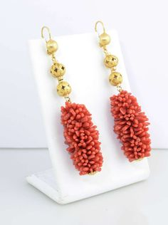 20th Century Long Coral Gold Ball Earrings | From a unique collection of vintage dangle earrings at https://www.1stdibs.com/jewelry/earrings/dangle-earrings/