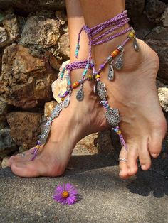 GYPSY purple BAREFOOT Sandals Anklets Crochet SANDALS by GPyoga, $79.00