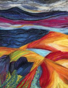 This would look great as a tapestry Felted Abstract Landscape by Ronnie Lewison Textile Fiber Art, Textile Artists, Wet Felting, Needle Felting, Project Abstract, Fuzzy Felt, Felt Pictures, Wool Art, Felt Art