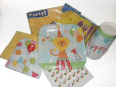 First Birthday Circus Party Supplies - Plates, Napkins, Silverware, Cups, Tablecover & Matching Kiss Labels Favors Blue Skies Plus,http://www.amazon.com/dp/B00FCDS2YQ/ref=cm_sw_r_pi_dp_RJAktb18SHX8E0XZ
