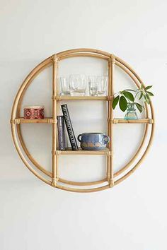 Magical Thinking Rattan Circle Shelf - Urban Outfitters (instead of art on wall over couch in living room) Hanging Racks, Hanging Shelves, Wall Shelves, Floating Shelves, Shelving, Corner Shelves, Fall Home Decor, Autumn Home, Home Decor Items