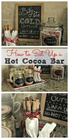 How to Set Up a Hot Cocoa Bar - Setting up a hot cocoa bar is perfect for parties, get-togethers or everyday use for easy access to a warm cup of cocoa. See how I put it together and where I purchased the supplies.