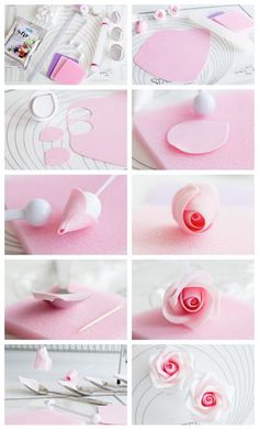 Coloring Gumpaste Flowers New Gum Paste Rose Step by Step Tutorial … - fondant rose Sugar Paste Flowers, Icing Flowers, Fondant Flowers, Cake Decorating Techniques, Cake Decorating Tutorials, Fondant Figures, Polymer Clay Flowers, Polymer Clay Crafts, Tutorial Rosa